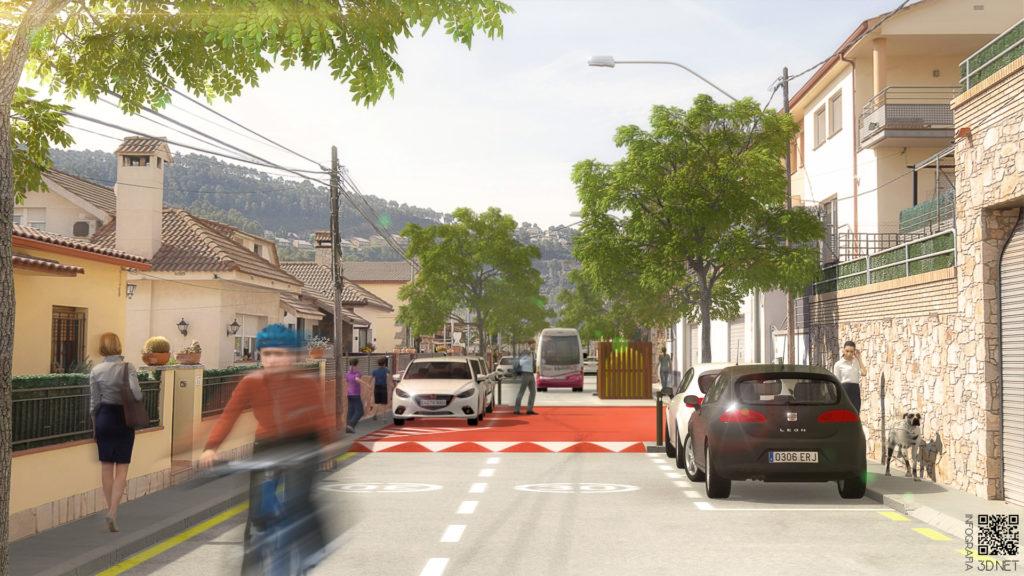 Urbanismo | Remodelación e integración 3D en fotografía de una calle de Vallirana, BARCELONA.