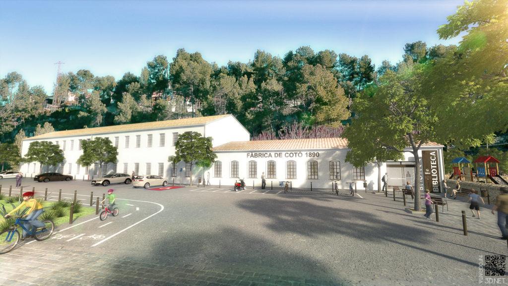 Arquitectura y Urbanismo | Remodelación e integración 3D en fotografía de la Nueva Biblioteca de Vallirana, BARCELONA.