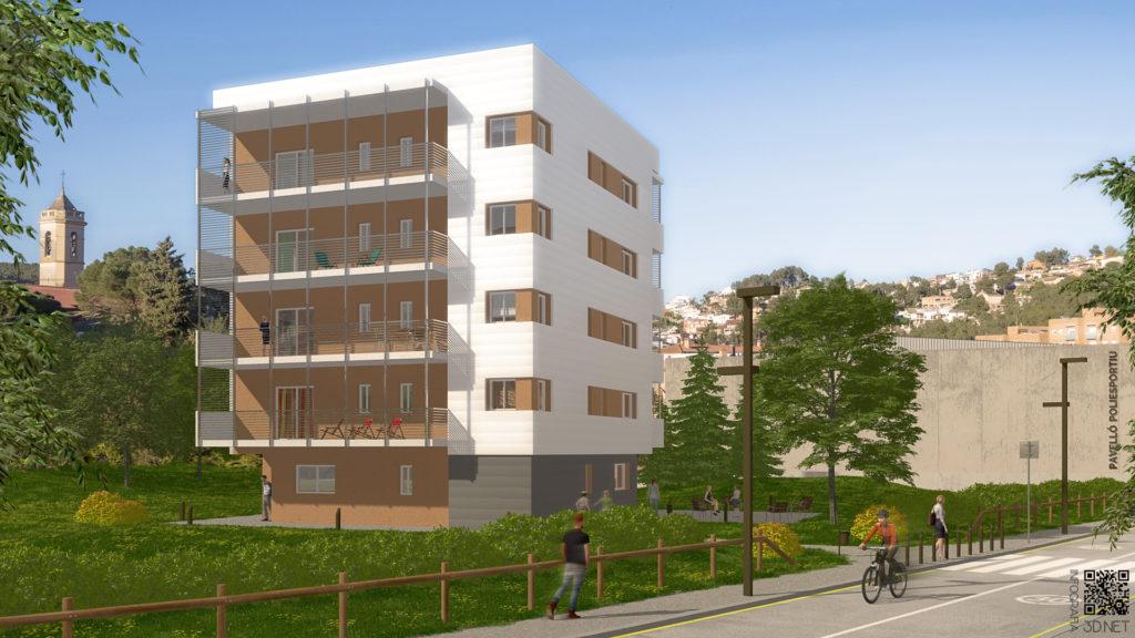 Arquitectura y Urbanismo | Remodelación e integración 3D en fotografía de un edificio de pisos de Vallirana, BARCELONA.
