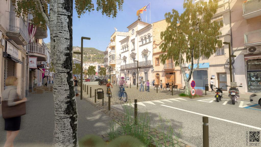 Urbanismo | Remodelación e integración 3D en fotografía de la Calle Mayor de Vallirana, BARCELONA